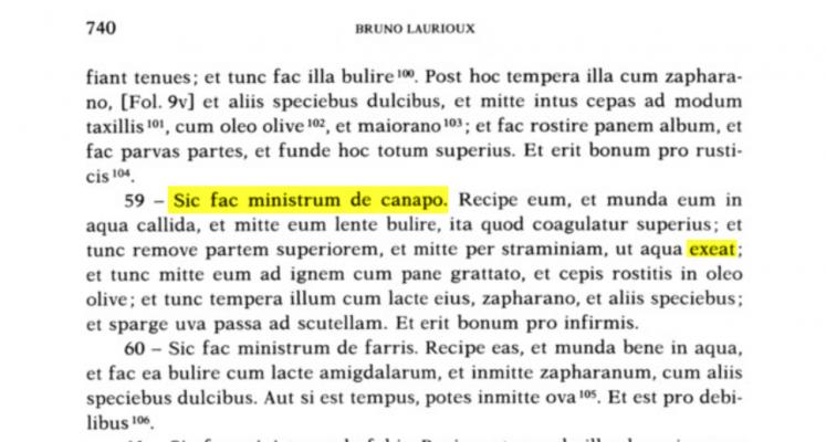 59 - On Ministrum de canapo Jean de Bockenheim, Registre de cuisine, p.740 n° 59. Reference to Bruno Laurioux, chef of Pope Martin V