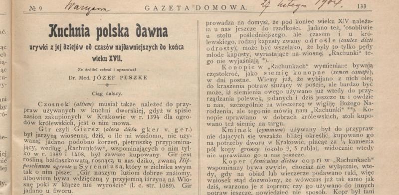 Peszke J.1904. Kuchnia polska dawna - wieku XVII. Gazeta Domowa nr 9, 133.