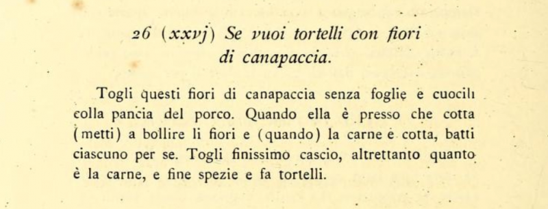 Tortelli with hemp flowers - Libro di Cucina Carducci-Gnaccarini