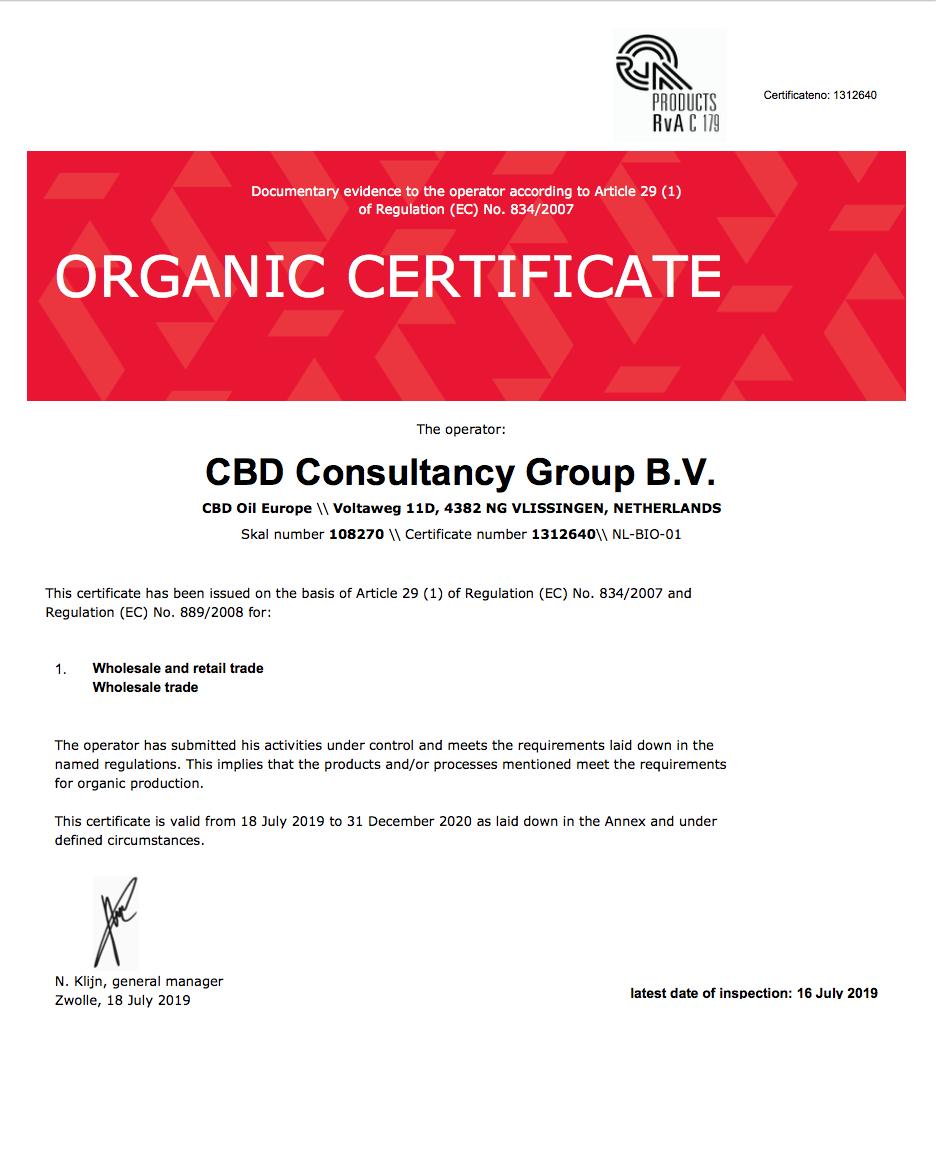 Organic:Bio Certifcate - CBD Oil Europe - Organic Certified CBD Oil