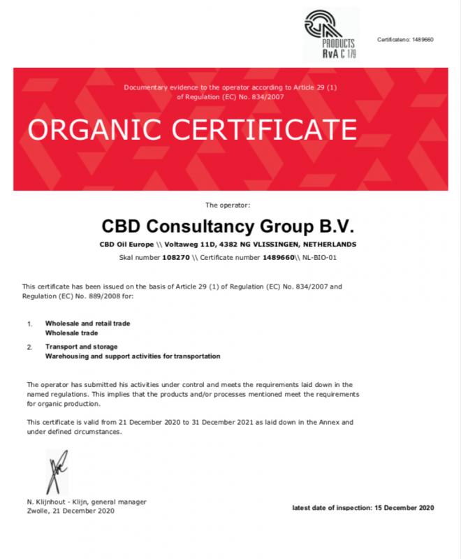 CBD Oil EUROPE - ORGANIC CERTIFICATION