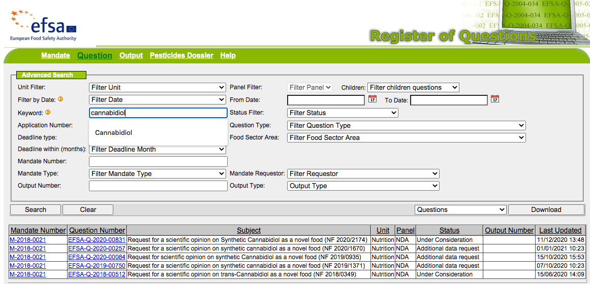 EFSA - register of questions